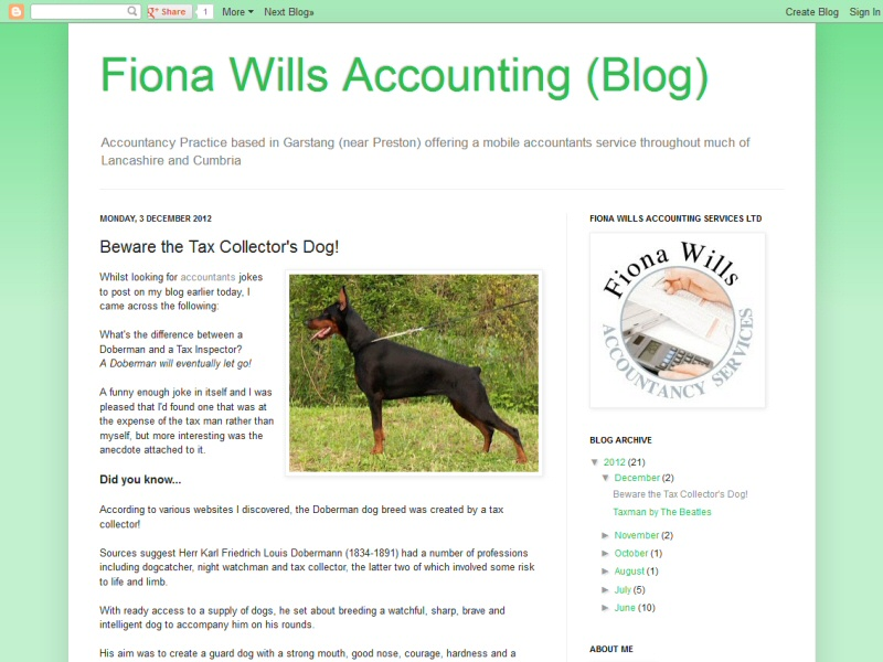 Successful customer blog promoting a Garstang based accountant's website and services