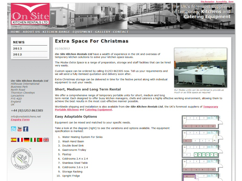 On-Site Kitchen Rentals Ltd (News Blog) Website, © EasierThan Website Design