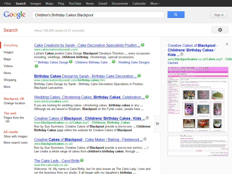 Creative Cakes of Blackpool (Google Rankings) Website, © EasierThan Website Design