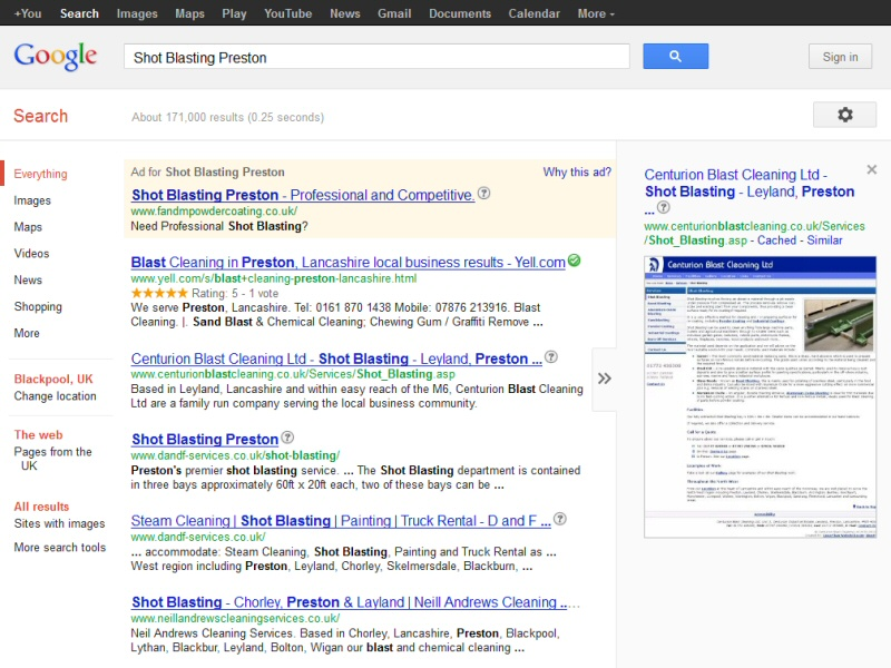 Centurion Blast Cleaning Ltd (Google Rankings) Website, © EasierThan Website Design