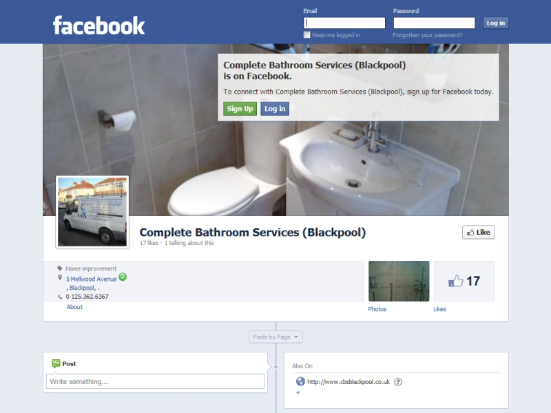 Complete Bathroom Services (Facebook Page) Website, © EasierThan Website Design