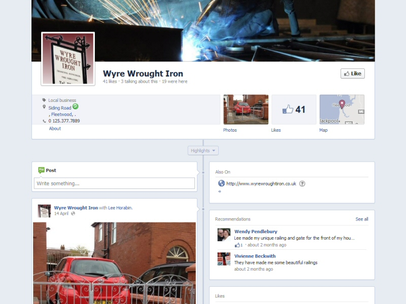 Wyre Wrought Iron (Facebook Page) Website, © EasierThan Website Design