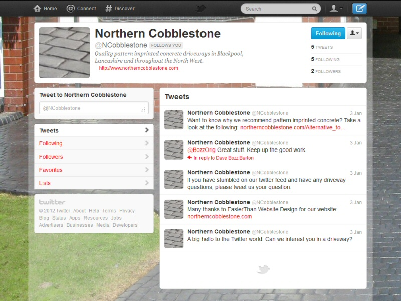 Branded Twitter feed managed for a client as part of an ongoing SEO exercise